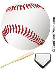 ligue, chauve-souris, plaque, &, commandant, base-ball,...