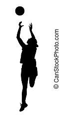 ligue, dames, balle, silhouette, joueur, korfball, attraper...