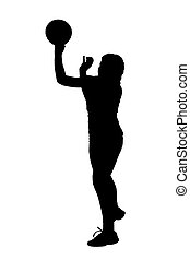 ligue, dames, balle, silhouette, korfball, lancement, joueur, girl