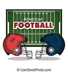 ligue, football américain, icône