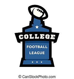 ligue, illustration., football, américain, vecteur, collège, logo.