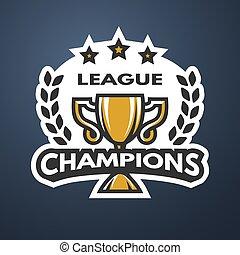 ligue, logo., champions, sports