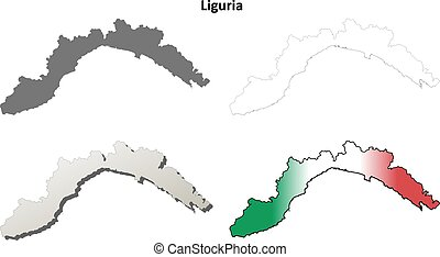 Liguria blank detailed outline map set - Liguria region...