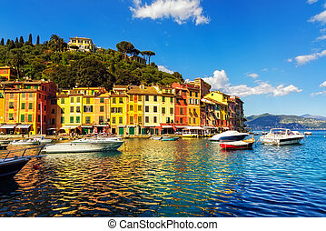 liguria, portofino port, baie, luxe, village, vue., ita, repère