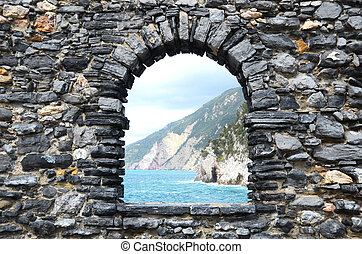 Ligurian coast. View from the old fortress in Portovenere ...