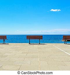 ligury, banc, italie, terrasse, océan
