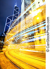 Liight trails in modern city