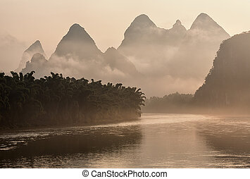 Lijang river in China at sunrise.
