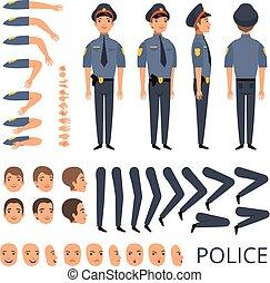 lijfwacht, pet, politieagent, beroep, creatie, karakter, uniform, maniertjes, gevarieerd, officier, constructor., hagelgeweer, veiligheid, uitrusting