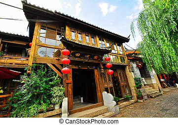 Lijiang China old town streets and buildings, world USECO...