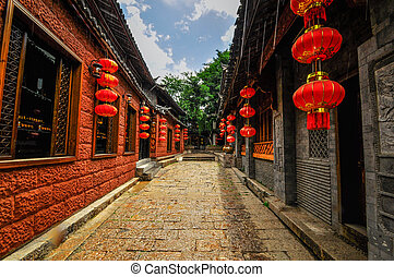Lijiang China old town streets and buildings, world USECO heritage in yunnan province.