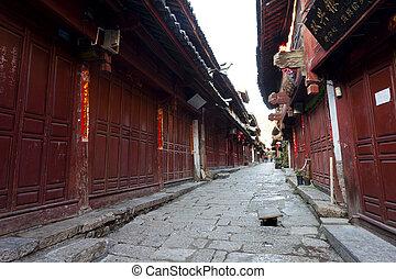 Lijiang old town at morning, China. - CHINA - OCTOBER 25, ...