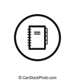 lijn, aantekenboekje, witte achtergrond, pictogram