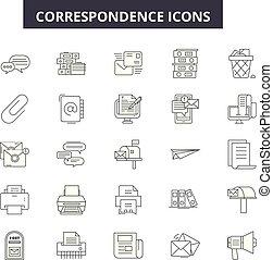 lijn, beweeglijk, signs., web, correspondentie, schets, slag...