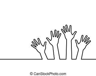 lijn, black , handen