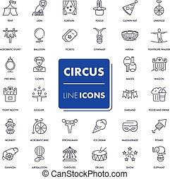 lijn, circus, set., iconen