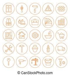 lijn, cirkel, gebouw, en, bouwsector, iconen, set
