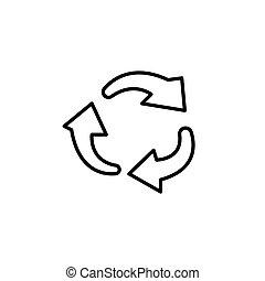 lijn, cirkel, omwenteling, pijl, icon.