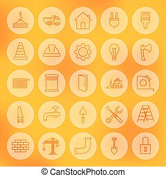 lijn, cirkel, web, gebouw, en, bouwsector, iconen, set
