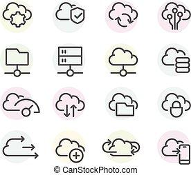 lijn, -, computer, instellingen, set, synchronisation, overdracht, wolk, gegevensverwerking, data, iconen