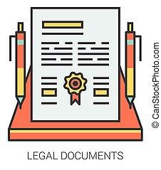 lijn, documenten, wettelijk, icons.