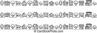 lijn, eenvoudig, woning, -, boompje, ruige , tekening