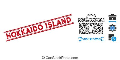 lijn, eiland, mozaïek, toolbox, hokkaido, yen, zeehondje,...