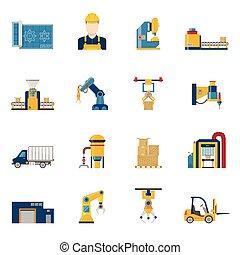 lijn, fabriekshal, vrijstaand, iconen