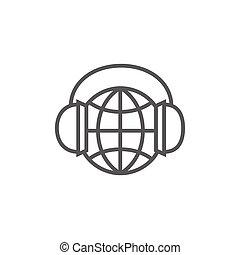 lijn, headphones, icon., globe