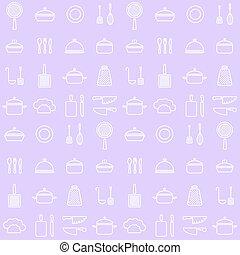 lijn, keuken, seamless, achtergrond, iconen