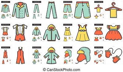 lijn, kleren, set., pictogram