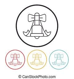 lijn, klok, kerstmis, pictogram