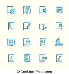 lijn, met, blauwe achtergrond, boek, bibliotheek, en, opleiding, iconen