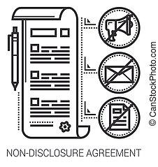 lijn, niet-onthulling, overeenkomst, icons.