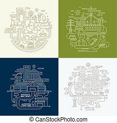 lijn, ontwerp, compositions, set, -, stad, levensstijl, fabriek, reizen