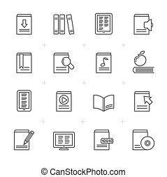 lijn, opleiding, boek, bibliotheek, iconen