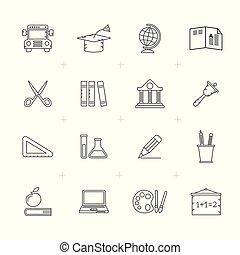 lijn, opleiding, school, iconen