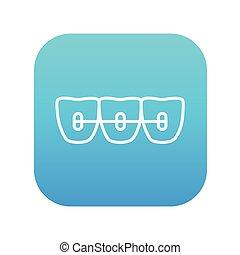 lijn, orthodontisch, icon., bretels