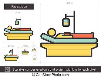lijn, patiënt, icon.