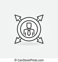 lijn, pijl, outsourcing, meldingsbord, vector, cirkel, icon., man