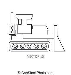 lijn, plat, vector, pictogram, gebouw mechanisme, bulldozer., industriebedrijven, style., road., bouwsector, machinery., de bouw., business., engineering., diesel., power., illustratie, textuur, voor, jouw, ontwerp, wallpaper.