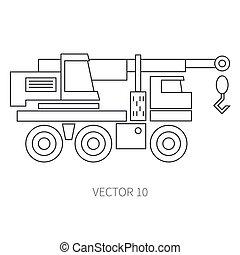 lijn, plat, vector, pictogram, gebouw mechanisme, -, crane., industriebedrijven, style., road., bouwsector, machinery., de bouw., business., engineering., diesel., power., illustratie, textuur, voor, jouw, ontwerp, wallpaper.