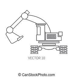 lijn, plat, vector, pictogram, gebouw mechanisme, excavator., industriebedrijven, style., road., bouwsector, machinery., de bouw., business., engineering., diesel., power., illustratie, textuur, voor, jouw, ontwerp, wallpaper.
