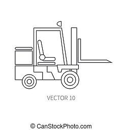 lijn, plat, vector, pictogram, gebouw mechanisme, forklift., industriebedrijven, style., road., bouwsector, machinery., de bouw., business., engineering., diesel., power., illustratie, textuur, voor, jouw, ontwerp, wallpaper.