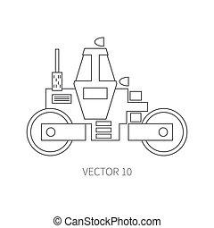 lijn, plat, vector, pictogram, gebouw mechanisme, -, roller., industriebedrijven, style., road., bouwsector, machinery., de bouw., business., engineering., diesel., power., illustratie, textuur, voor, jouw, ontwerp, wallpaper.