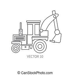 lijn, plat, vector, pictogram, gebouw mechanisme, -, tractor., industriebedrijven, style., road., bouwsector, machinery., de bouw., business., engineering., diesel., power., illustratie, textuur, voor, jouw, ontwerp, wallpaper.