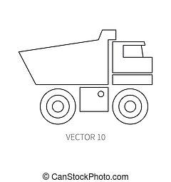 lijn, plat, vector, pictogram, gebouw mechanisme, -, truck., industriebedrijven, style., road., bouwsector, machinery., de bouw., business., engineering., diesel., power., illustratie, textuur, voor, jouw, ontwerp, wallpaper.