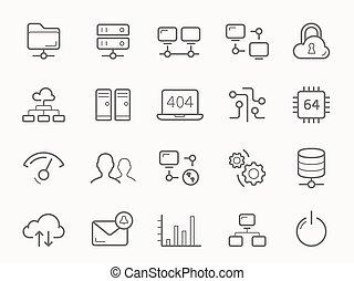 lijn, servers, netwerk, icons., hosting