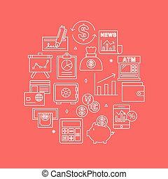 lijn, set, financieel, cirkel, pictogram