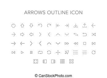 lijn, set, pijl, pictogram